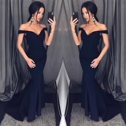 Wholesale Floor Arts - Dark Navy 2018 Mermaid Prom Dresses Off Shoulder Simple Floor Length Formal Evening Party Gowns Custom Cheap Dress for Women