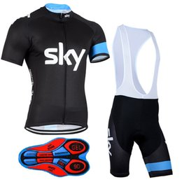 Wholesale team sky cycle wear - 2017 Tour de France Team Sky Cycling Jerseys Set Tour Road Racing Champion Bicycle Wear Jersey bib shorts Cycling Clothes With
