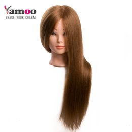 Wholesale hair styling mannequins - Training Head For Salon 60% real Human Hair Hairdressing Mannequin Dolls hairstyles professional styling head can be curled hair