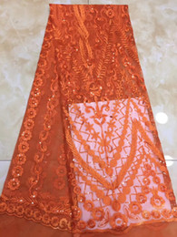 tela bordada de terciopelo rojo Rebajas EPT1153 (5 yardas / juego) Tela de encaje de red francesa de terciopelo africano con delicadas lentejuelas bordado para un vestido de fiesta de alta calidad