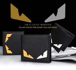 Wholesale Money Color - Hot Sale Little Monster Eyes Horizontal Men Short Wallets Contrast Color Card Holder Purse High Quality Leather Man Wallet Money Purse Bag