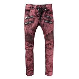pantalones cool mens Rebajas Balmain Moda Vintage Mens Ripped Jeans Pantalones Slim Fit apenado Hip Hop Denim COOL Male Novedad Streetwear Jean Pantalones Venta caliente