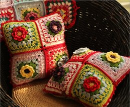 federe di crochet Sconti Fatti a mano all'uncinetto fiore modello colore 4 colori fiore abbraccio federa decorazione della casa cuscino di alta qualità stile unico regalo di Natale