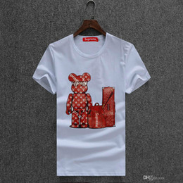 Wholesale Bead Clothing - free shipping hot sales cotton New 2018 Mens Summer Tees Plus Size Shirt Short Sleeve t shirt Printed Cotton T-shirt Men Designer Clothing