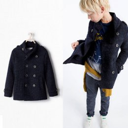 Wholesale Trench Kids Boys - Boy woolen trench coat Enland style children double breasted stand collar outwear winter kids fleece thicken warmer windbreaker R1753