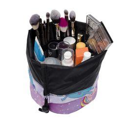 Wholesale Eco Tools Make Up Brushes - Unicorn Make Up Bag Women Brush Necessaries Cosmetic Bag Round Shaped Travel Toiletry Storage Box Makeup Wash Organizer Cases 200Pcs
