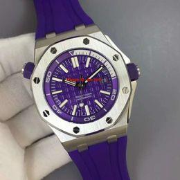 relógio de cinta de borracha roxa Desconto NOVA Melhor Relógio V7 Diver 42mm Cal.3120 Automático Mens Watch 15710ST 316L Caso Em Aço Inoxidável Roxo Dial Rubber Rubber Strap Gents Relógios