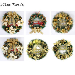 Wholesale Leaf Ornaments Wholesale - Christmas Party Leaf Fall Door Wreath Door Wall Ornament Thanksgiving Day Decor Adornos De Navidad Para Casa