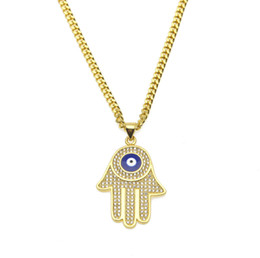 blue eye pendants for women Coupons - Hip Hop Men's Blue Evil Eye pendant Hamsa Hand of Fatima Charm Gold Long Cuban chains For women Rapper Hiphop Jewelry