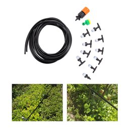 Wholesale Faucet System - 10M Garden Hose Fog Nozzles Irrigation System Misting Watering With Spray Head Irrigation Suit Faucet Connector Cable Tie