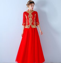 Китай новая вышивка онлайн-Chinese Style  New Elegant Hand Embroidery Cheongsam Winter Bride China Bridal Sheath Lace half Sleeves Long Bridal Gown