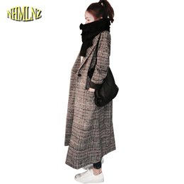 Wholesale Fashion Korean Winter Woolen - 2017 Autumn And Winter New Fashion Plaid Woolen Coat Women Long paragraph Loose Korean version Long-sleeved Woolen Coat WXY327