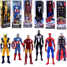 2019 führte kunststoffwaren Avengers PVC Actionfiguren Marvel Heros 30 cm Iron Man Spiderman Captain America Ultron Wolverine Figur Spielzeug 7 Stile OOA3864