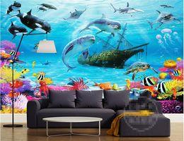 Murais subaquáticos on-line-Papel de parede mural subaquático do mundo dos desenhos animados 3D Personalização personalizada Sala do miúdo Papel de parede ecológico da prova da umidade dos desenhos animados