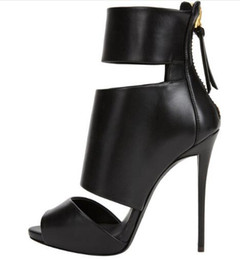 peep toe schwarze abendschuhe Rabatt Schwarz Peep Toe High Heel Plateau Ankle Boots für Frauen Sexy Sommer Booties mit Reißverschluss Kleid Schuhe Abend Heels Large Size