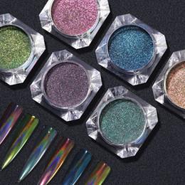 Mejora de uñas online-Manicure DIY Jewelry Laser Peacock Powder Rainbow Colorido Nail Flash Powder Upgrade Platinum Mirror