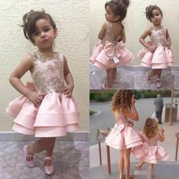 Wholesale Gowns For Wedding Occasions - 2018 Blush Backless Flower Girl Dresses Jewel Special Occasion For Weddings Lace Appliques Knee Length Party Dress