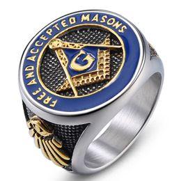 2019 anel de casal de ouro branco de 14k Aço Inoxidável 316 ordem Ordem fraterna dos homens Maçônica Lodge Anéis de Esmalte Azul Livre E Aceito Maçons anel