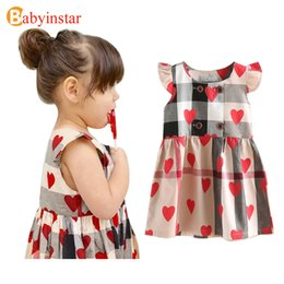 Wholesale Baby Clothes Christmas Designs - 2017 Special Design Girls Dress Cotton Love Pattern Ruffles Sleeve Plaid Princess Baby Costume Children Clothes Girls Dresses