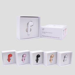 oreillettes simples Promotion HBQ I7 Mini écouteurs sans fil Single-Right-Ear Sans fil Invisible Casque Casque Avec Micro Stéréo Écouteur Pour iphone X 8 Samsung S8 S9