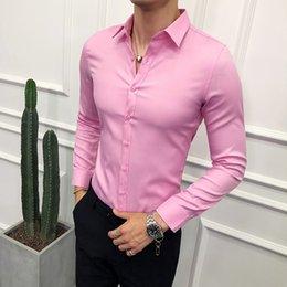 ce24ea7f5 2019 simples vestidos de baile de graduación Moda 2018 hombres de negocios  camisa nueva marca Slim