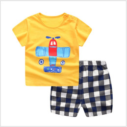Wholesale Boys T Briefs - Wholesale baby clothes Girl boy Jumpsuit summer Short sleeves T-shirt and shorts 100% Cotton cartoon Outfit free shipping