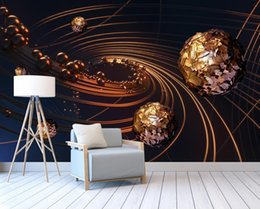 Wholesale Paper Sphere - 3d wallpaper Line sphere Photo Wall Mural Living Room Bedroom Restaurant Backdrop wall papers home decor