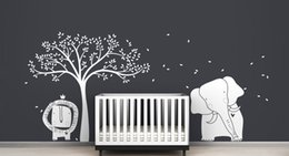 Wholesale Lion Wall Decals - Baby Lion Elephant and Tree Wall Sticker Mural Modern Baby Zoo Wall Decal Kids Nursery Playroom Wall Art Poster Vinyl Decor