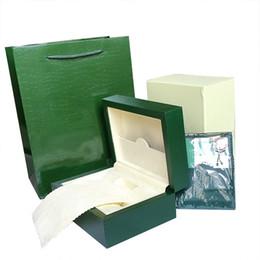 Livraison Gratuite Top Montre De Luxe Vert Boîte D'origine Papier Cadeaux Montres Boîtes Sac en cuir Carte 0.8KG Pour Rolex Watch Box ? partir de fabricateur