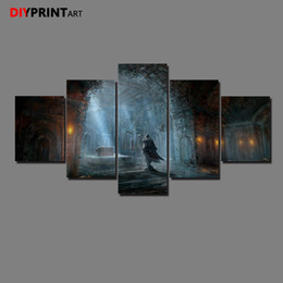 пейзаж Скидка Assassins Creed мужской летучие мыши игры 5 панелей стены холст картины настенные панно для гостиной A1206