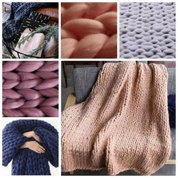 Wholesale Thick Acrylic Blankets - Chunky Knitted Blanket Handmade Merino Crochet Blanket Thick Line Yarn Wrap Knitted Blanket VS Mermaid Blankets 14 Colors YW391