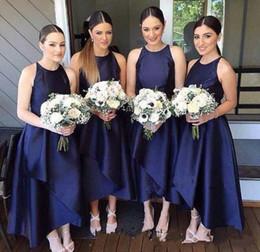 Wholesale Online Bridesmaids Dresses - 2018 Navy Blue Jewel High Low Short Bridesmaid Dresses A Line Women Wedding Events Party Dresses Bridesmaid's Dresses Unter $100 Online