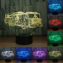 Wholesale Led Lights Fire Trucks - Gift Fire Truck 3D Night Lamp 7 Colors Nightlight LED USB 3D Night Lights as Children's Room Toys Decoration Lights IY803303