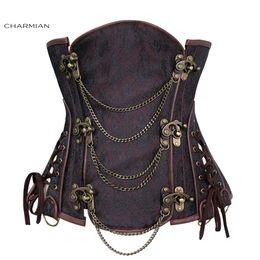 Wholesale black brocade corset - Women &#039 ;S Vintage Gothic Steampunk Corset Sexy Brocade Steel Boned Underbust Corset Bustier With Chains Waist Cincher
