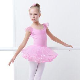 danse tutu féerique Promotion Sweet Pink Ballet Justaucorps Pour Enfants Ballet Tutu Robe De Danse Fée Justaucorps Pour Filles Yoga Gymnastique Artistique Utilisez Bailarina