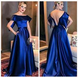 2019 robe de soirée décolleté bateau Robes bleu royal élégants du soir 2018 nouveau bateau encolure une ligne robe de bal formelle dos sexy robes de soirée pas cher robe de soirée décolleté bateau pas cher