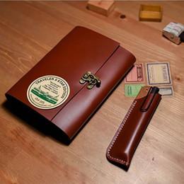 cahier en cuir papier vintage Promotion Nouveau B6 style fait à la main vintage cahier en cuir véritable cas journal revue papier kraft libre impression nom petit cahier vert