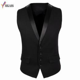 Wholesale Wedding Suit Grey Waistcoat - Men Suit Vest Black Grey 4 Buttons V Collar Classic Dress Slim Fit Vests Male Sleeveless Brand Mens Formal Wedding Waistcoat