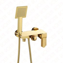 Wholesale Waterfall Bathtub Faucet Wall Mount - 2018 Wholesale Patent Design Solid Brass Luxurious Golden Black White Chrome Wall Mounted Bathtub Faucet Bath Taps with handshower