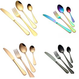 Wholesale gold tea spoons - Gold Flatware Sets Spoon Fork Knife Tea Spoon Dinnerware Kit Kitchen Utensil Beef Steak Dining Set Can Provide FBA Ship TY7-311