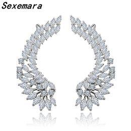 Avvolgere il polsino dell'orecchio online-Sexemara 925 Luxury Lady's Silver Post Cubic Zircone Crystal Angel Wing Ear Sweep Orecchini polsino Orecchini scalatore Ear cuff