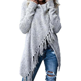 бахрома Скидка 2018 Tassel Fringe Shawl Poncho Cardigan Fashion Women Knitted Winter Warm Sweater Long Sleeve Oversized Knitwear Coat 6Q2379