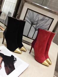 Punta de cuero de ante de la calidad contraria del dedo del pie de los colores mezclados zapatos del tobillo de las mujeres del vino negro de la moda 10cm Zapatos desde fabricantes