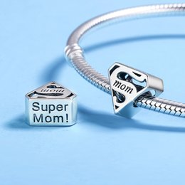 """Wholesale Fit Cube - Turbo 925 Sterling Silver Bracelets Charms Mother's Day Gift """"Mum"""" Engraved Fits Pandora Bracelet DIY Beads Fashion Jewelry for Women"""