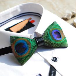 cravates en plumes Promotion 2018 hommes femmes vert paon plume noeud papillon cravates de mariage bowtie bowknot hommes vlinderdas pajaritas noeud papillon erkek papyon