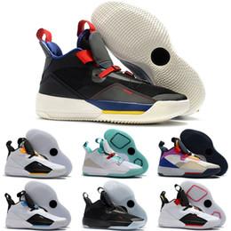 фарфоровые кроссовки из фарфора Скидка Бренд 33 Tech Pack Future of Flight Баскетбольные кроссовки для мужчин предпродажные 33-е годы XXXIII Го Айлан Китай Jade Colorway Smoke Серые белые кроссовки