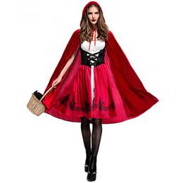Schal für rotes kleid online-Halloween Adult Rotkäppchen Kostüm Samt Kleid Schal Cap Cosplay Party Kleid Königin zweiteilige