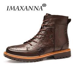 2019 chaussure de chaussure IMAXANNAMen Bottes D'hiver Hommes Bottines À Lacets À La Main Brogue Hommes Chaussures Style Britannique Microfibre Casual Chaussures Hommes chaussure de chaussure pas cher