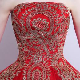 Canada 018 nouvelle robe de bal en dentelle de tulle robe de mariée rouge avec queue modèle chinois de la mode pas cher chine broderie robe de mariée Offre