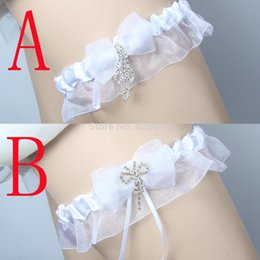 Wholesale Purple Wedding Garters - Lowosaiwor Factory Wholesale White Ribbon Elastic Wedding Garter Belt Set Bride Garter Set leg Belt Handmade IBF10014